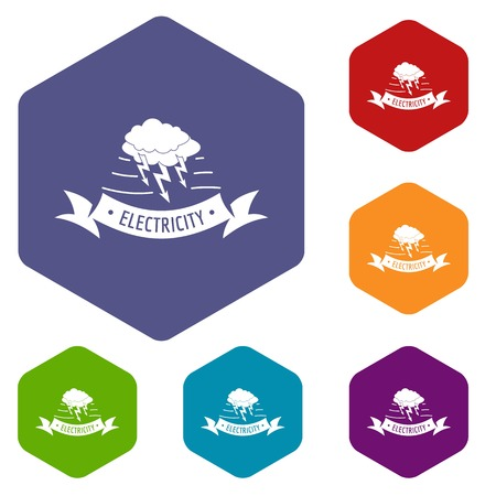 Wind energy icons vector hexahedron