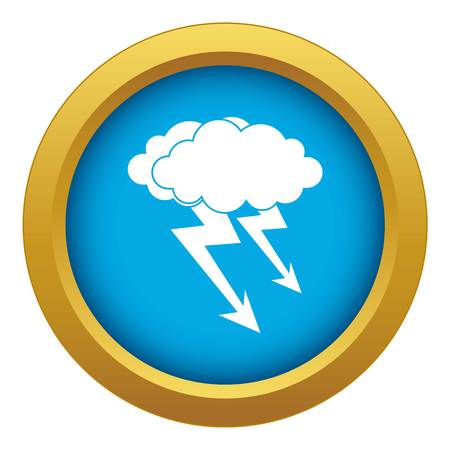 Lightning cloud icon blue vector isolated on white background for any design