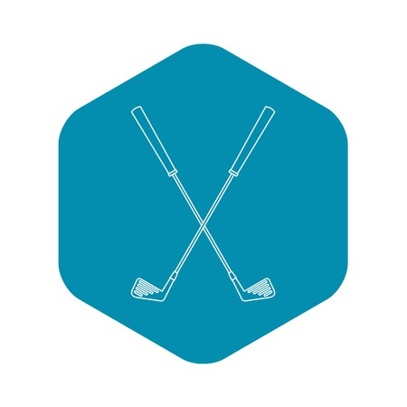Golf clubs icon. Outline illustration of golf clubs vector icon for web Vettoriali
