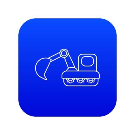 Excavator icon blue vector Illustration