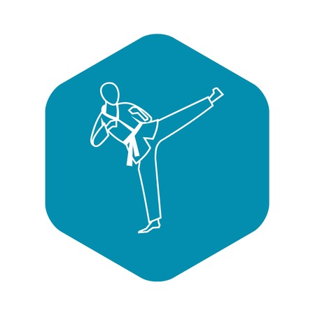 Wushu master icon in simple style isolated on white background