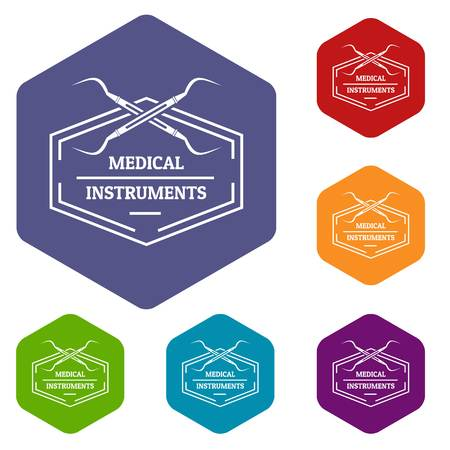 Medical instrument icons vector hexahedron Illustration