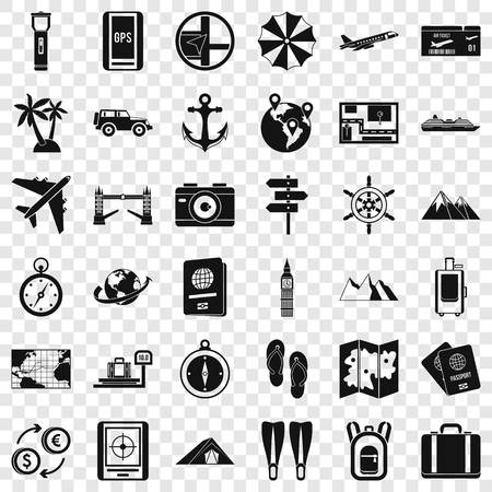 Good travel icons set, simple style