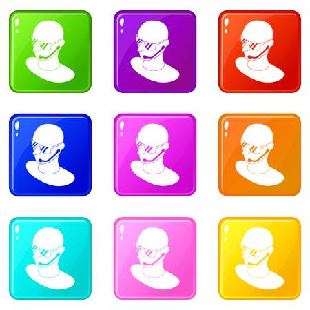 Security man icons set 9 color collection isolated on white for any design