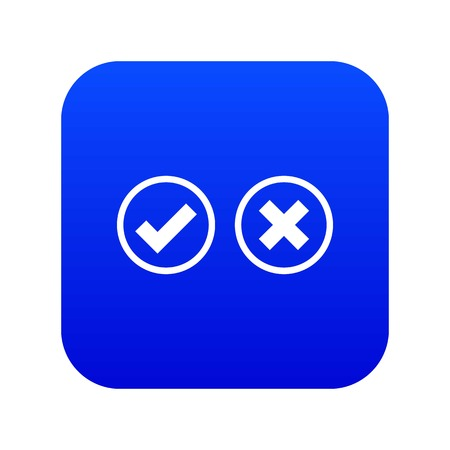 Tick and cross selection icon digital blue