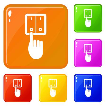 Hand switch light icons set collection vector 6 color isolated on white background Stock Illustratie