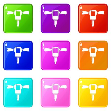 Mining hammer drill icons set 9 color collection