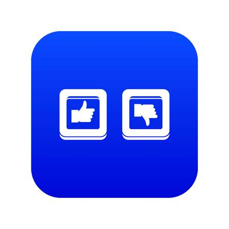 Signs hand up and down in squares icon digital blue for any design isolated on white vector illustration