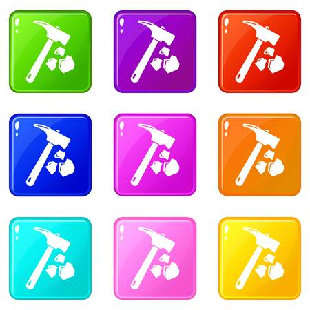 Minning hand hammer icons set 9 color collection isolated on white for any design