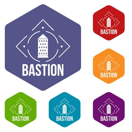 Bastion icons vector hexahedron