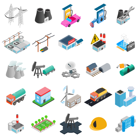 Power icons set. Isometric set of 25 power vector icons for web isolated on white background