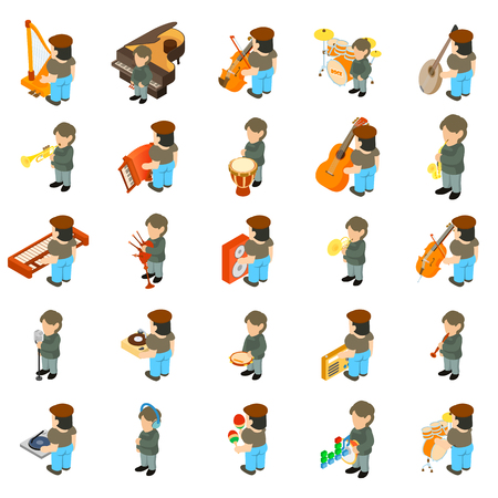 Music course icons set. Isometric set of 25 music course vector icons for web isolated on white background
