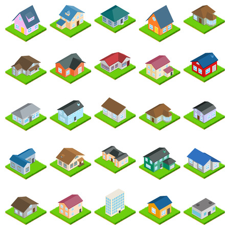 House icons set. Isometric set of 25 house vector icons for web isolated on white background Illustration