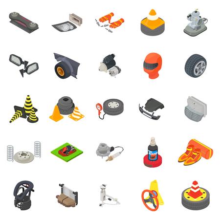 Motoring icons set, isometric style Vektorgrafik