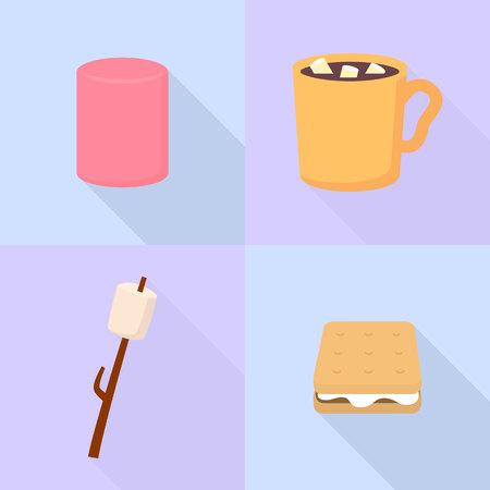 Marshmallow icons set, flat style