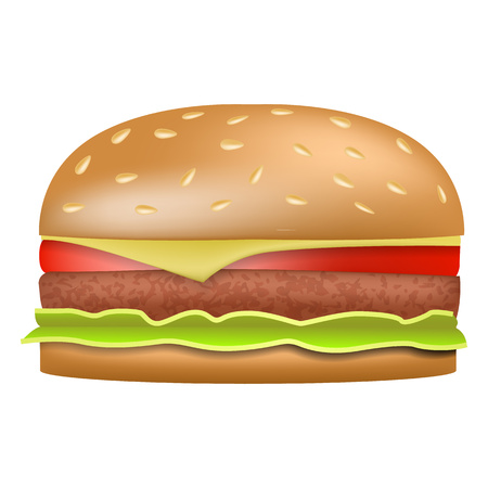 Burger icon. Realistic illustration of burger vector icon for web design isolated on white background Vektorové ilustrace
