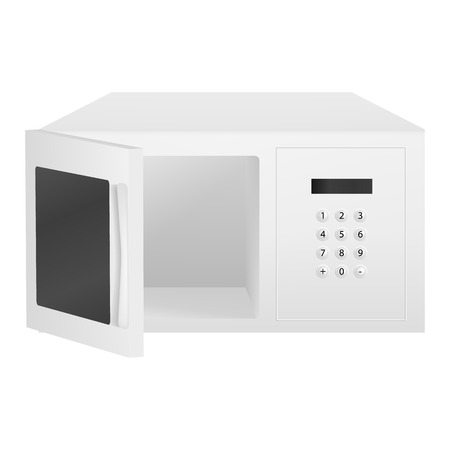 Open microwave icon. Realistic illustration of open microwave vector icon for web design isolated on white background