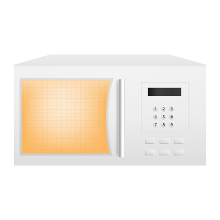Working microwave icon. Realistic illustration of working microwave vector icon for web design isolated on white background