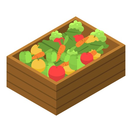 Vegetable garden box icon. Isometric of vegetable garden box vector icon for web design isolated on white background