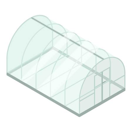 Glass greenhouse icon. Isometric of glass greenhouse vector icon for web design isolated on white background Illustration