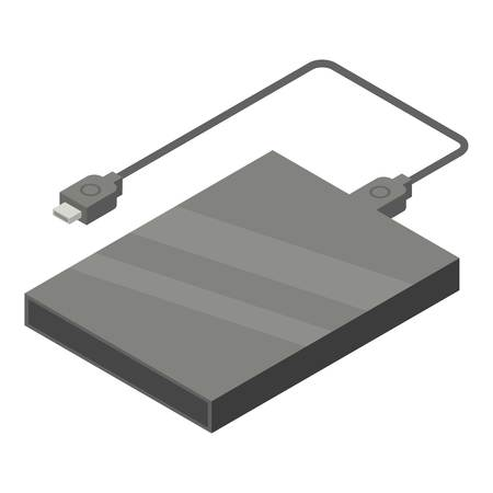 Portable hard drive icon. Isometric of portable hard drive vector icon for web design isolated on white background