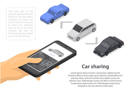 Modern car sharing concept banner, isometric style