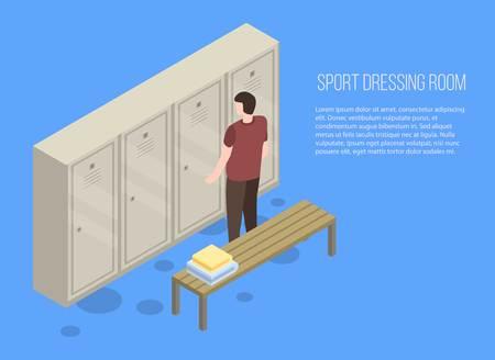 Banner für Sport-Umkleidekabinen. Isometrische Illustration der Sportumkleidekabinenvektorfahne für Webdesign