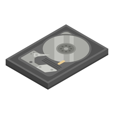Old hard disk icon. Isometric of old hard disk vector icon for web design isolated on white background Illustration
