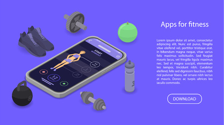Apps for fitness concept banner, isometric style