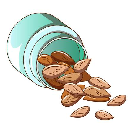 Almond nut jar icon, cartoon style