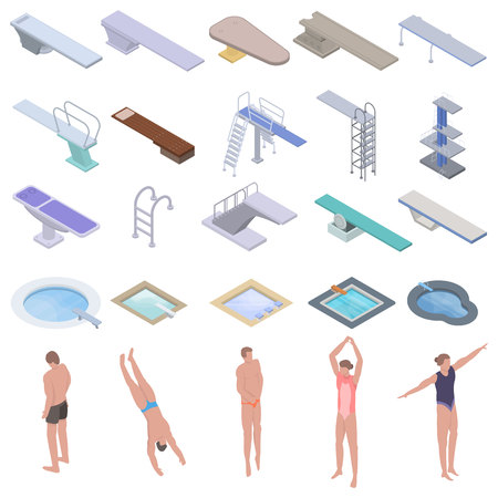 Diving board icons set, isometric style