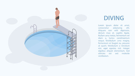 Pool diving board concept banner, isometric style