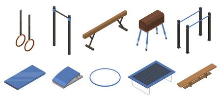 Gymnastics equipment icons set. Isometric set of gymnastics equipment vector icons for web design isolated on white background Illustration