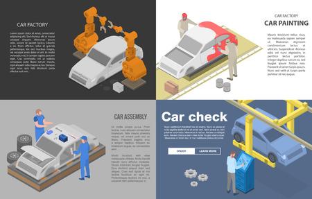 Car factory banner set. Isometric set of car factory vector banner for web design