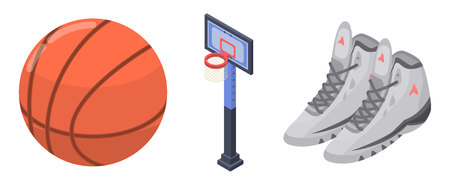 Basketball equipment icons set. Isometric set of basketball equipment vector icons for web design isolated on white background Banque d'images - 124104787