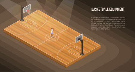Arena basketball concept banner. Isometric illustration of arena basketball vector concept banner for web design