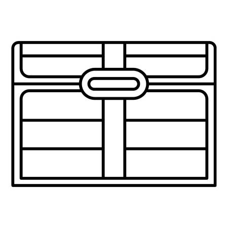 Closed dower chest icon. Outline closed dower chest vector icon for web design isolated on white background