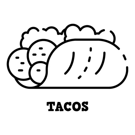 Tacos icon, outline style