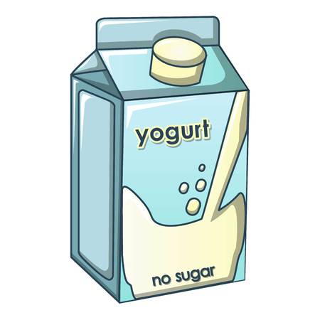 No sugar yogurt icon, cartoon style