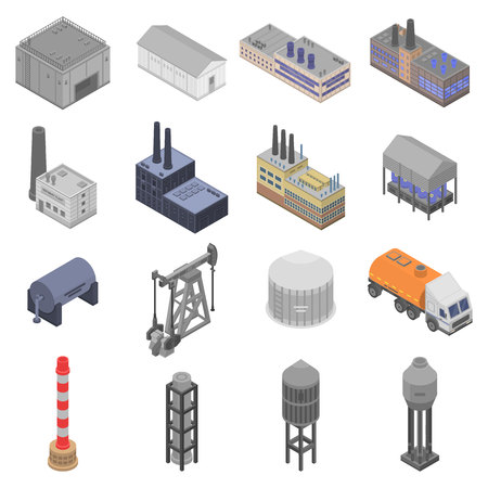Refinery plant icons set, isometric style