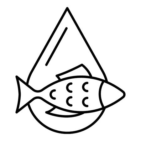 Fish oil drop icon, outline style Çizim