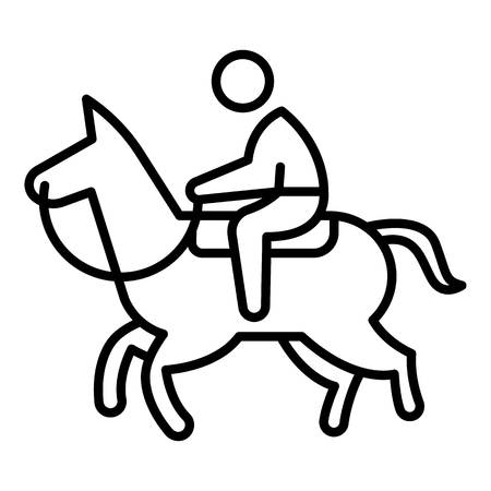 Sport horseback riding icon. Outline sport horseback riding vector icon for web design isolated on white background