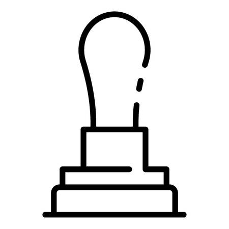 Post wood stamp icon, outline style