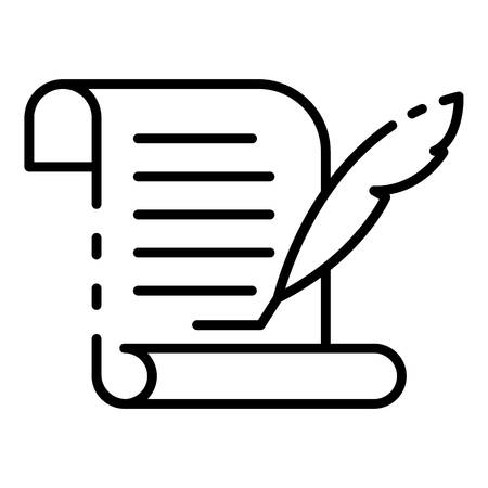 Papyrus learning icon, outline style