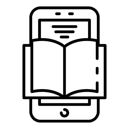 Interactive learning icon, outline style Illusztráció
