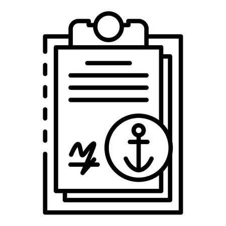 Marine port clipboard icon, outline style Illustration