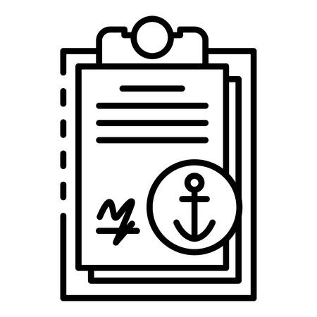 Marine port clipboard icon, outline style Illustration