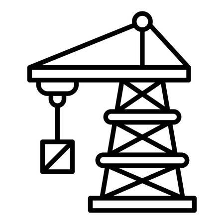 Port crane icon, outline style Vectores