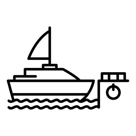 Sailboat in port icon. Outline sailboat in port vector icon for web design isolated on white background