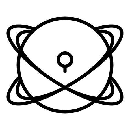 Nuevo icono de planeta espacial. Esquema de nuevo espacio planeta icono vectoriales para diseño web aislado sobre fondo blanco. Ilustración de vector